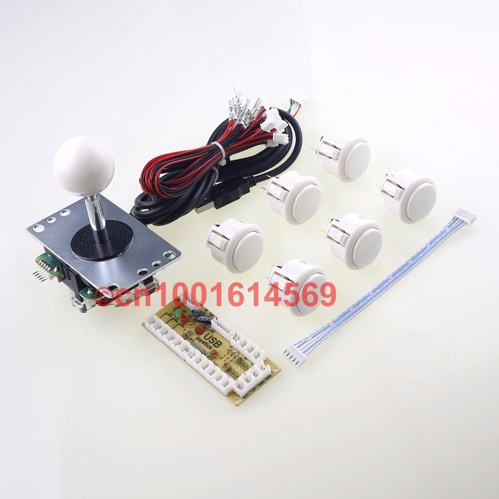 New Arcade Games DIY Kit Zero Delay Encoder + SANWA JLF Stick + 6pcs SANWA Buttons For Arcade Bundle Classic Video Games - White sanwa button and joystick use in video game console with multi games 520 in 1