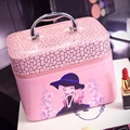 Korean lovely cosmetics bag professional large-capacity female cosmetics box with mirror