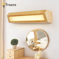 TRAZOS Modern Wooden LED front mirror light bathroom makeup Vanity wall lamps led vanity wall mounted sconces lighting fixture