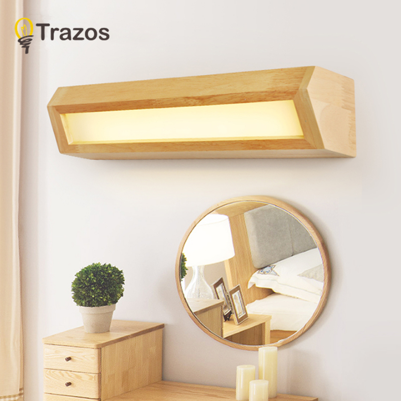 TRAZOS Modern Wooden LED front mirror light bathroom makeup Vanity wall lamps led vanity wall mounted sconces lighting fixture цена