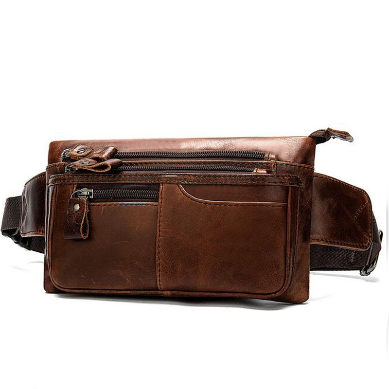 Men  Fanny Pack Genuine Leather  For Men Waist Bag Money/Phone Belt Bag Hip Bum Waist Pack Travel Pouch Bags Waist Purse Bag