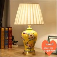 Китайский стиль Бабочка Желтый керамический smallTable лампы модные ткани тени медное основание E27 Светодиодный лампа для постели и фойе MF061
