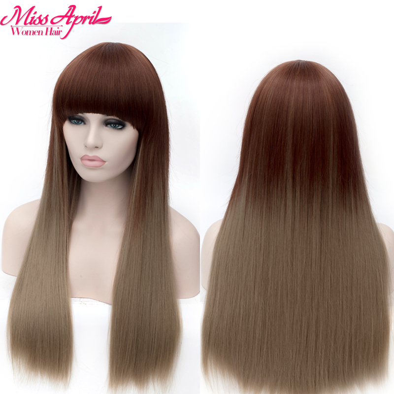 Ombre Wig Long Light Brown Color Wigs Black Women Heat Resistant Synthetic African American elsa Cosplay Hair - Dear store