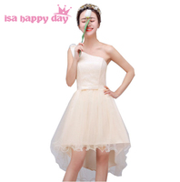 Elegante kant korte een schouder bescheiden prom meisje jurken tiener jurk corset hoge lage met boog speciale gelegenheid jurken H3944