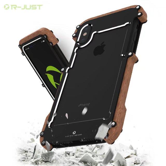 R-JUST Luxury Doom armor Dirt Shock X-MAN wood+Metal phone case For iphone 6 6s plus 7 8 plus iphone X cover case bumper
