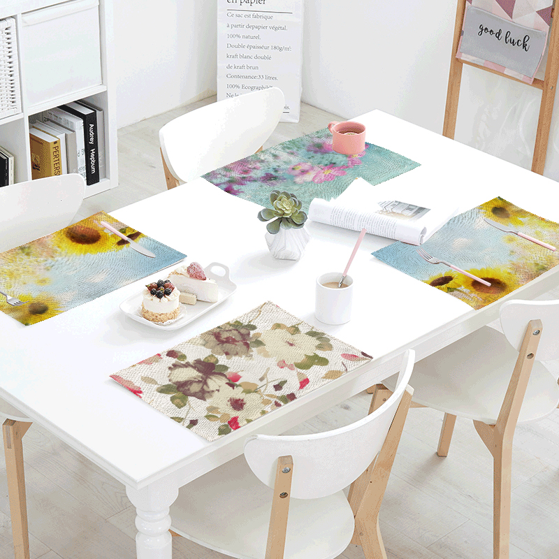 Ink Painting Sunflower Red Rose Square Napkin Dinner Table Cotton Placemat Linen Printed Customized Living Room Decor Table Bowl