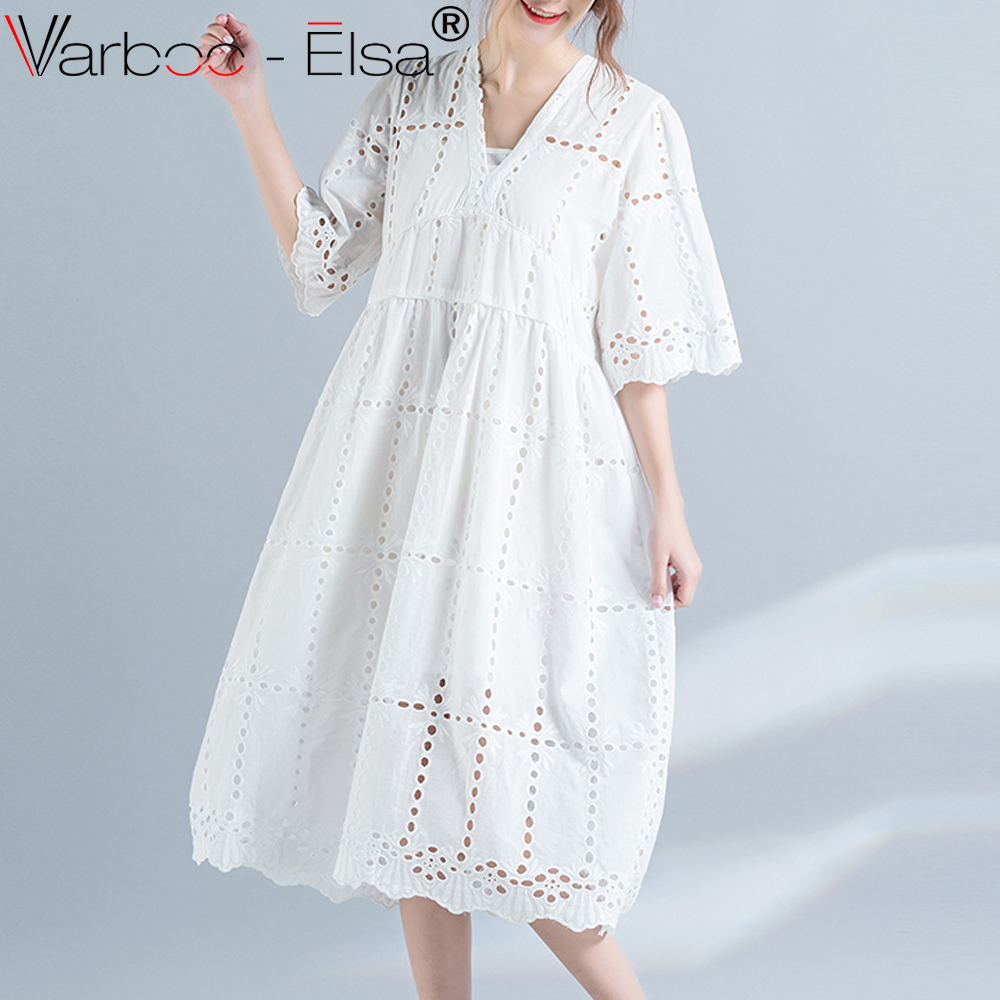 VARBOO_ELSA 2017 Summer Fashion Hollow Out White dress Elegant Party ...