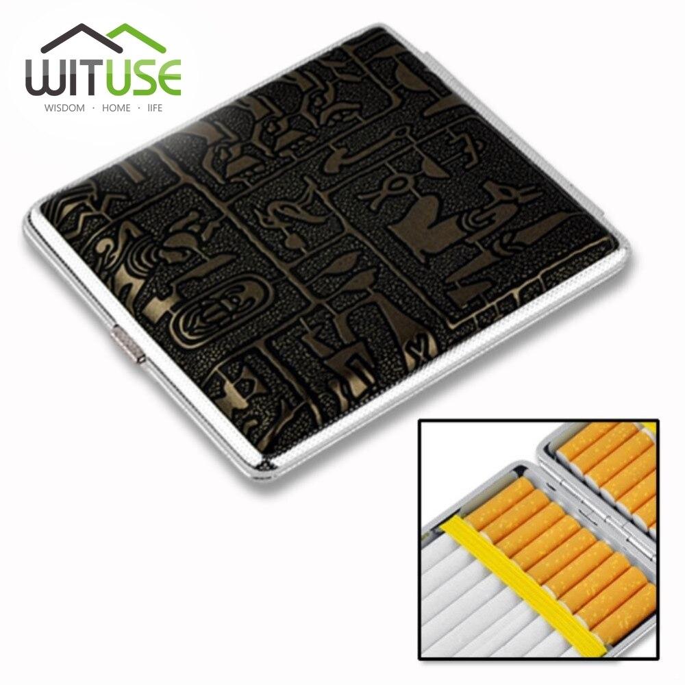 WITUSE Hold 10 12 14 16 18 20 Cigarettes Aluminum Metal Cigar Cigarette Box Brand Cigarette Holder Tobacco Storage Case Gift
