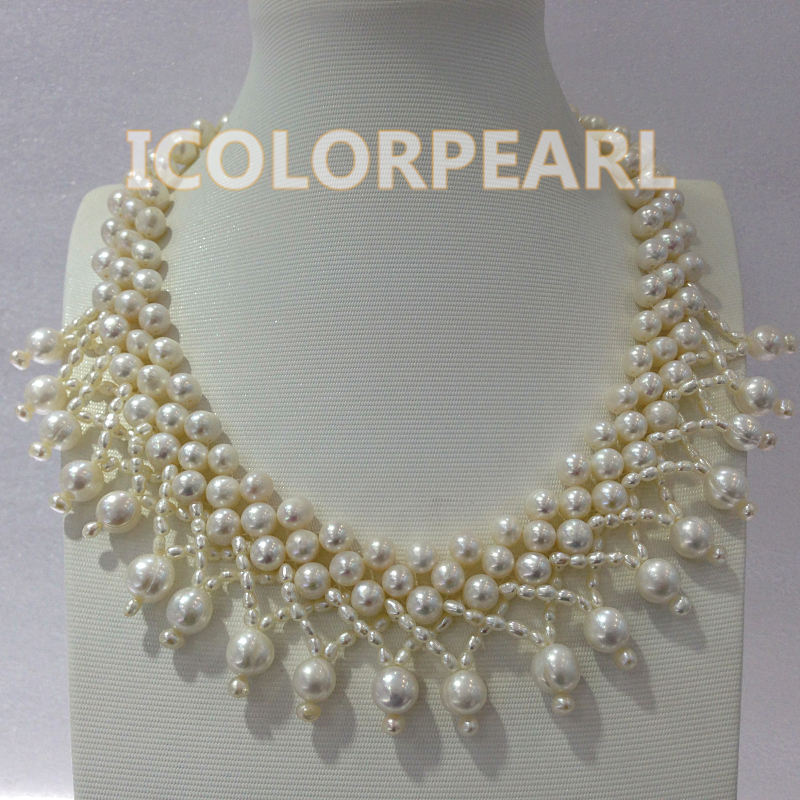 WEICOLOR tressé à la main à trois rangées 4-7mm blanc près de rond véritable collier de perles d'eau douce naturelle. Meilleurs bijoux de mariage!