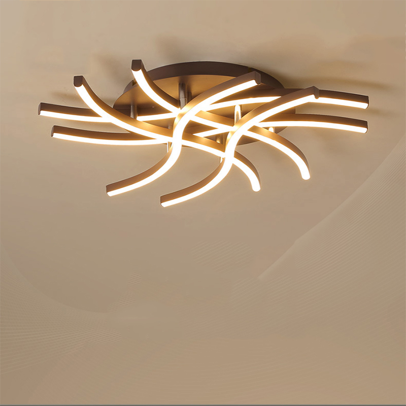Led ceiling lamps shaped bedroom living room aluminum brown multi-head Indoor Lighting RC Dimmable Pendant light