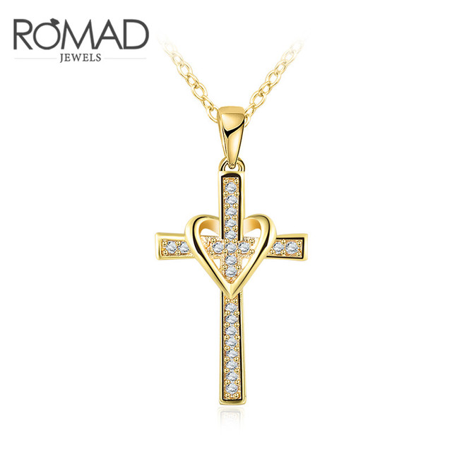 Romad lovely chic infinity cross pendant necklace for women gold romad lovely chic infinity cross pendant necklace for women gold color zircon chain choker necklace jewelry aloadofball Images