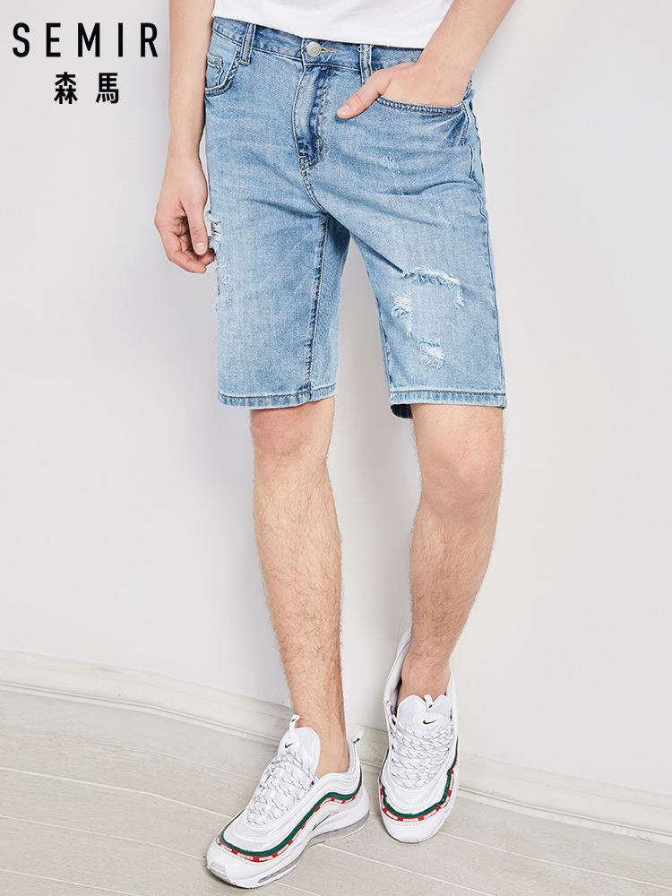 SEMIR Hole hole denim shorts male student summer men thin section   jeans   men's fifth pants trend loose Korean version