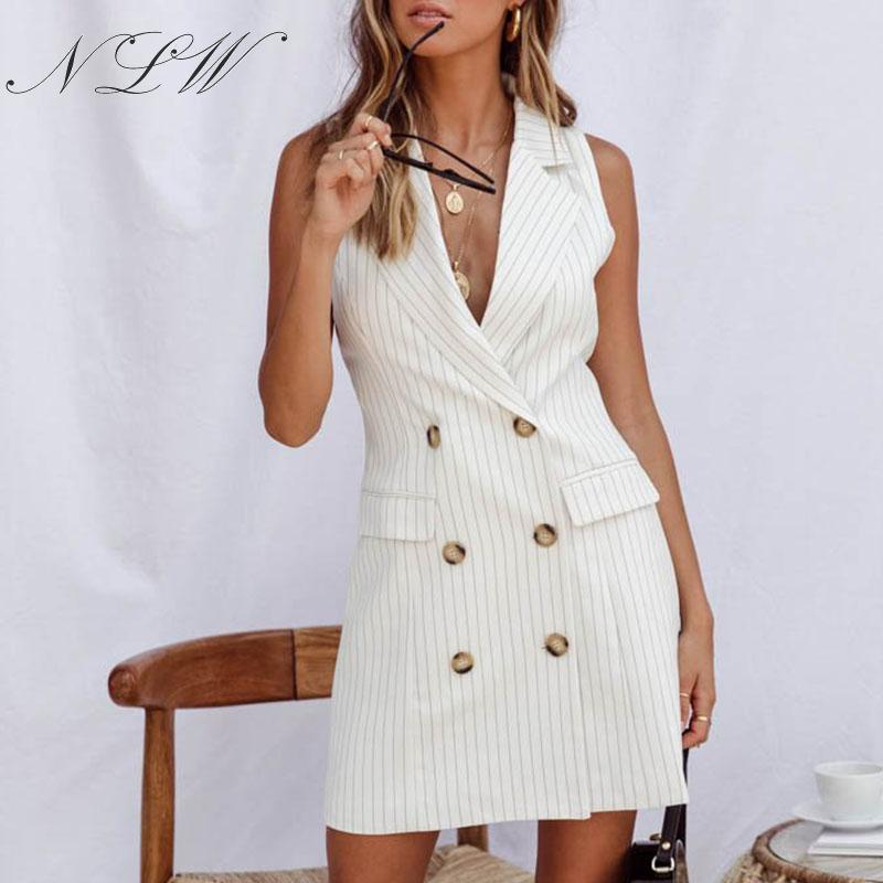 NLW White Stripe Blazer Dress Women Pocket Button 2019 Mini Dress Sleeveless OL Elegant Dress Autumn Winter Short Dress