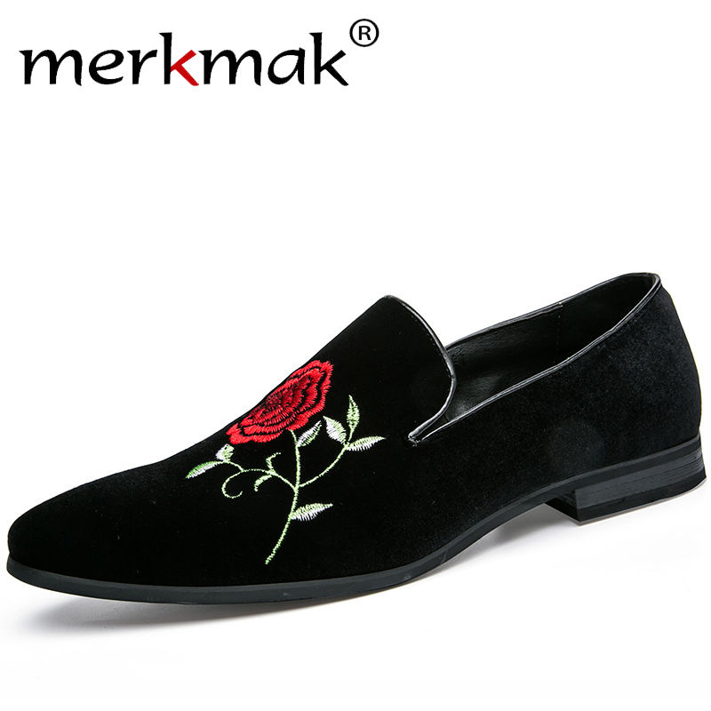 Merkmak Handmade Fashion Leather Loafers 3D Rose Flower Embroidery Gentleman Luxury Shoes for Men Brand Slip On Flat Shoes