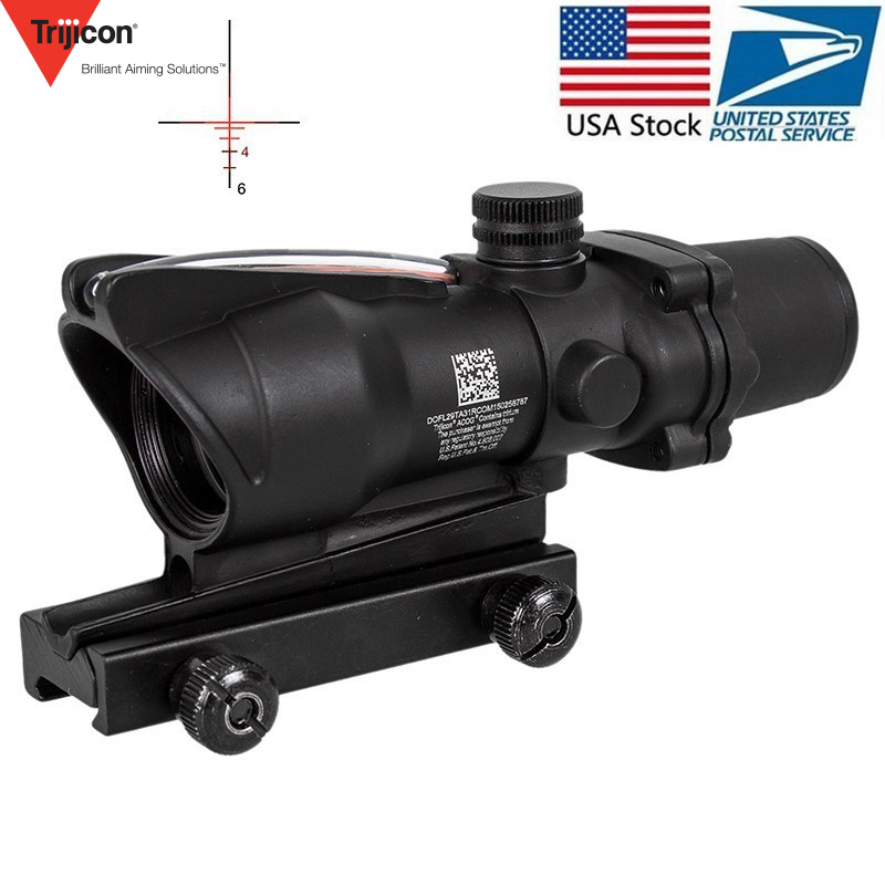 Caza Riflescope ACOG 4X32 Real de fibra óptica punto rojo iluminado Chevron de vidrio grabado retícula táctico vista óptica