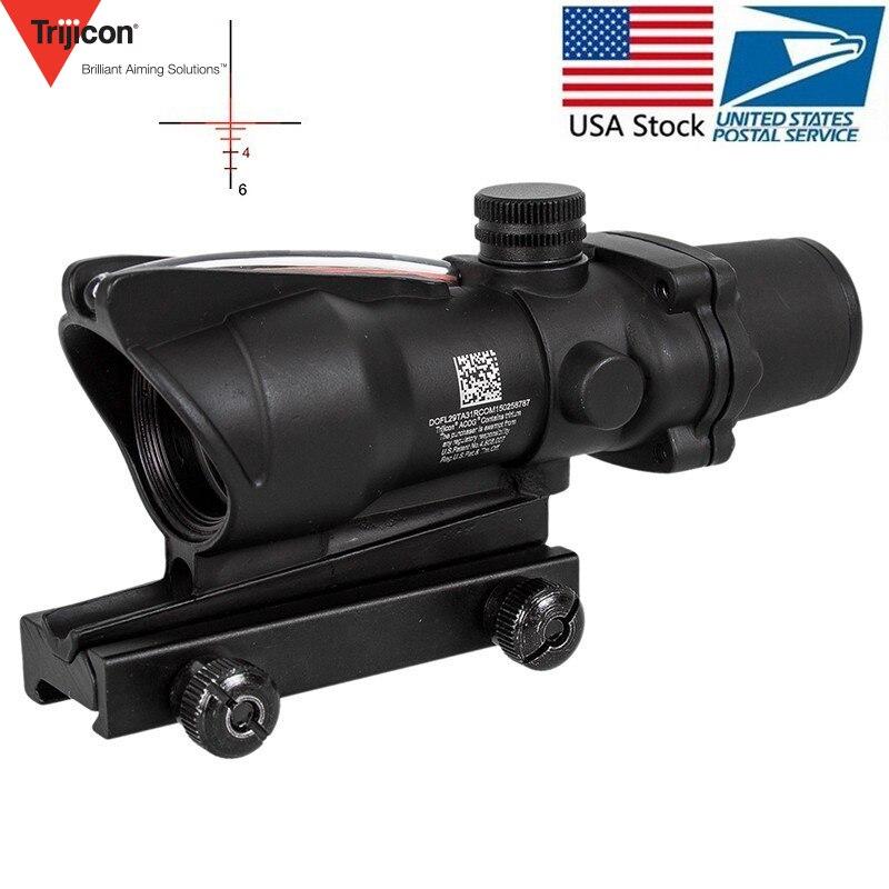 Chasse Lunette De Visée ACOG 4X32 Réel Fibre Optique Red Dot Lumineux Chevron En Verre Gravé Réticule Tactique Viseur Optique