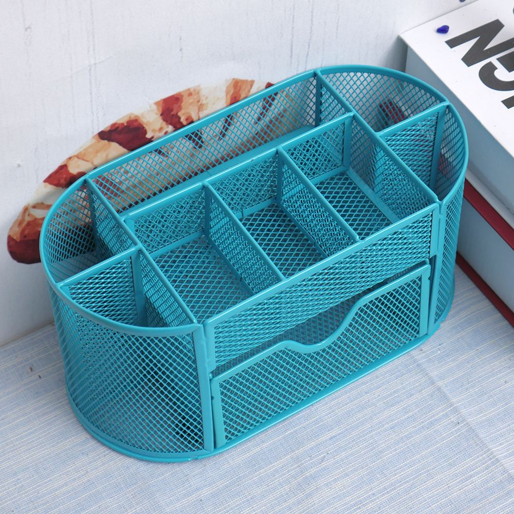 1PC Colorful Desk Organizer Pen Holder Pen Container Pencil Case Box Multifuction 9 Cells Metal Mesh Desktop Office Tool 1pc 96grid bag pen holder paint brush holder watercolor oil acrylic painting tool pencil case stationary art easel container