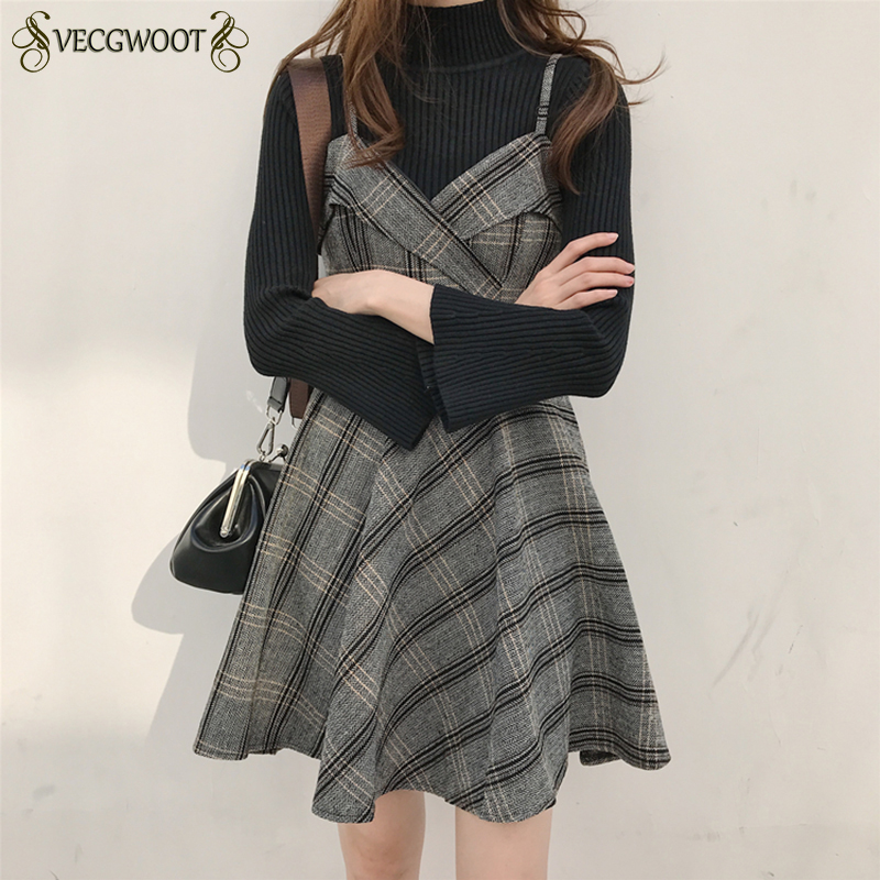 08b01660f6 Detail Feedback Questions about 2018 Autumn and winter Korean Sling Dress New  Slim High waist Was thin Girl Dress V neck Tartan Suspenders Dress Female  ...