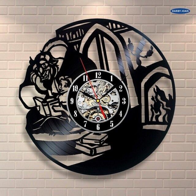 Wall Clock Beauty And The Beast Art Vinyl Record Home Decor Interior Design