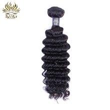 """""""King Hair"""" parduotuvė """"Peruvian Virgin Hair Deep Wave"""" """"100% Curly Weave"""" Žmogaus plaukų paketai Neperdirbta natūrali spalva 1PCS Pristatymas Nemokama"""