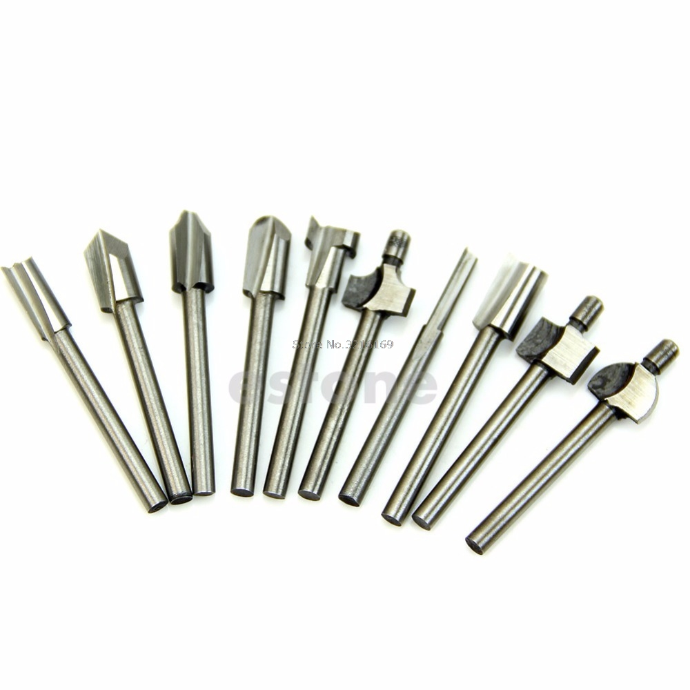 цена на For Hot 10pcs 1/8 Shank HSS Router Dremel Rotary HSS Woodworking Drill Bits Set Promotion