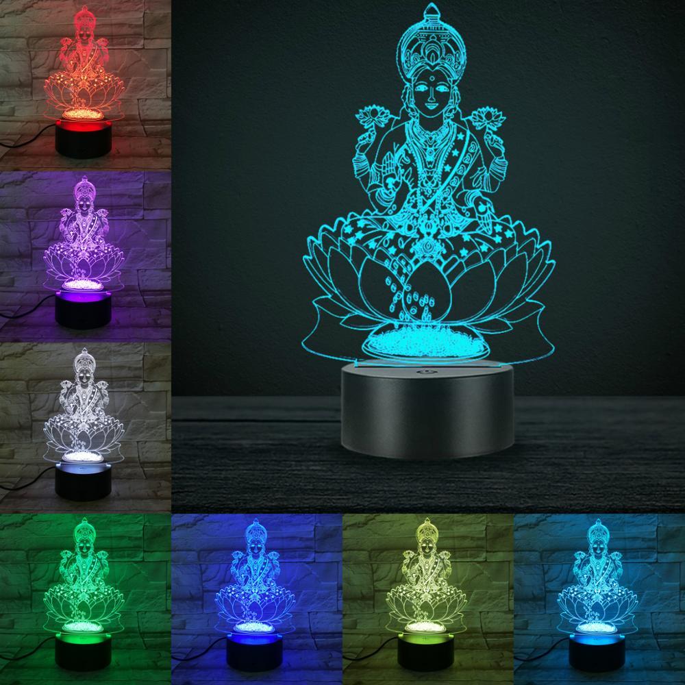Hinduism Supreme Deities 3D Lamp 7 Color Changing  Touch Remote Switch Optic Fiber Light Bea Home Desk Decoration