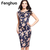 Fenghua Summer Dress Women 2017 Party Elegant Sexy Slim Casual Dresses Floral Vintage Office Bodycon Dress