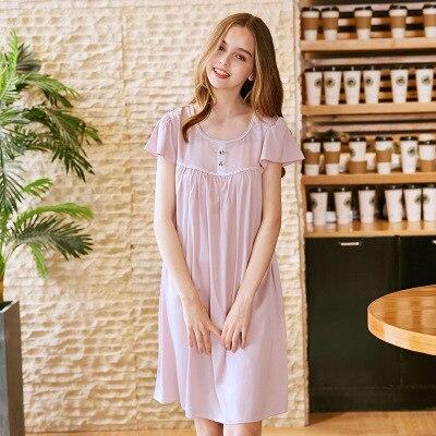 Fashion Princess   Nightgown   Girls Sexy Lace Trim Lingerie Dress Sleepwear   Sleepshirts   Women Spring Summer Nightdress Home W