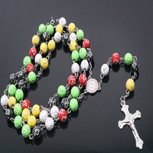 Crystal Print Cross Bead Necklace Catholic Rosary Statement Long for Religious Virgin Father Christian