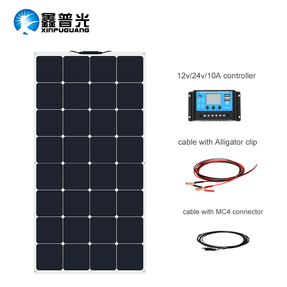 XINPUGUANG 100w DIY kit 12v battery car RV module panel solar panel for 12V 24V 10A solar Monocrystalline controller power cell in Solar Cells from Consumer Electronics