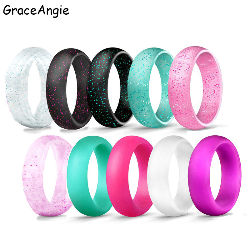 7PCS Silicone Rings Health Silicone Movement Couples Wedding Round Solid Female Ring Women Girls Office Lady Finger Jewelry