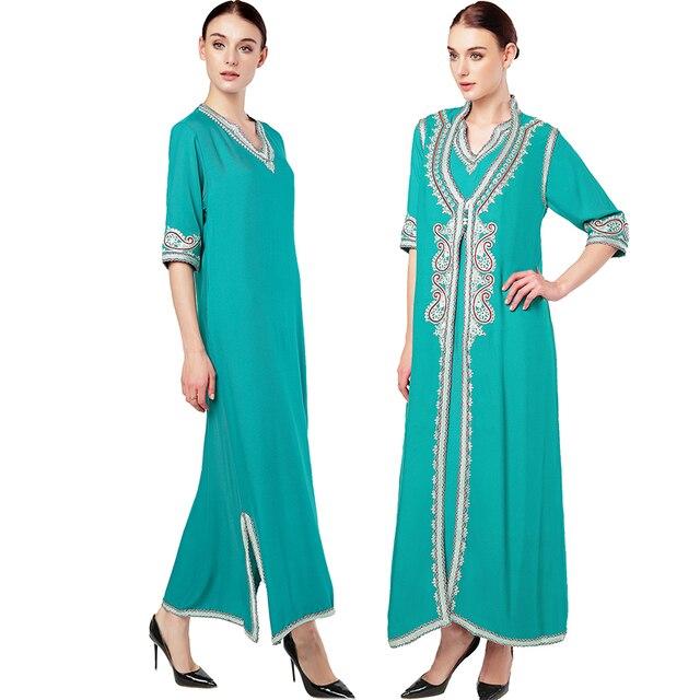 c5688b56b15d3f Women islamic clothing Maxi Long sleeve Dress moroccan Kaftan Caftan abaya  tunic Muslim gown turkish ethnic embroidery dress