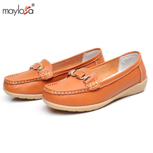 2017 women shoes Summer genuine leather flats shoes female casual flat women loafers shoes slips leather casual shoes ML01