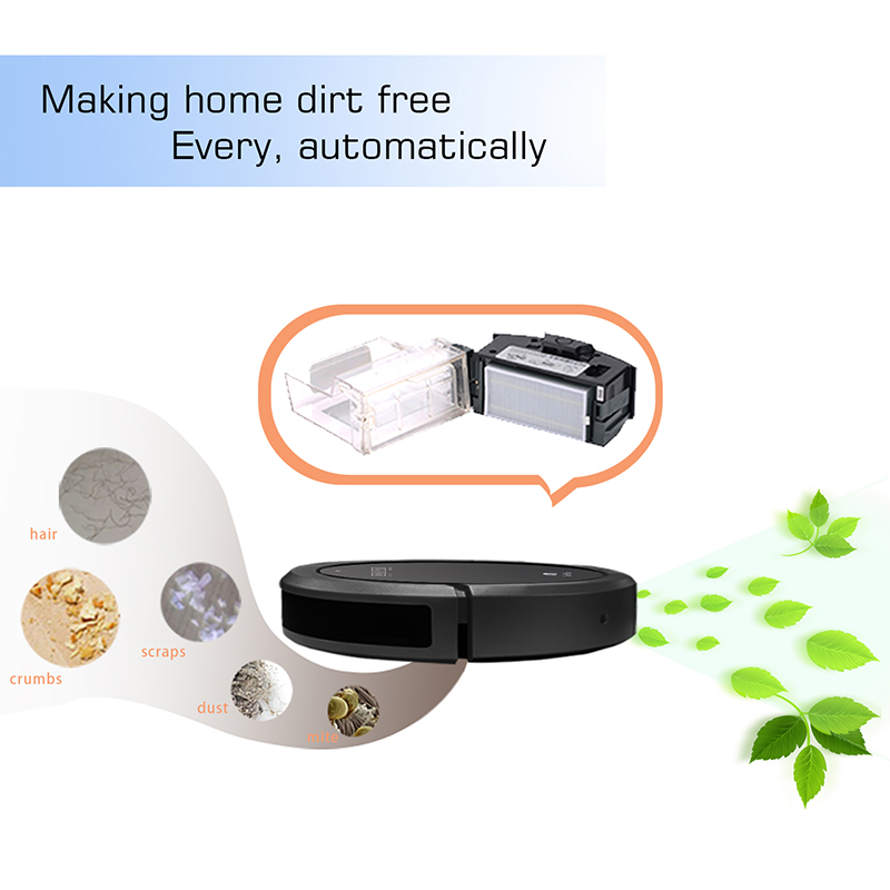 QQ6 robot vacuum cleaner smart sweep MINI cleaner AUTO charging Li-iron  battery dry wet mop APP water tank in full black