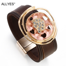 ALLYES Leather Bracelets for Women 2019 Individual Hollow Charm Bohemian Wide Multilayer Wrap Bracelet Female PartyJewelry