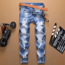 Spring Summer 2019 New Man Straight Jeans Slim Destroyed Hole Striped Men Jean Male Casual Personal Fit Pants vaquero hombre
