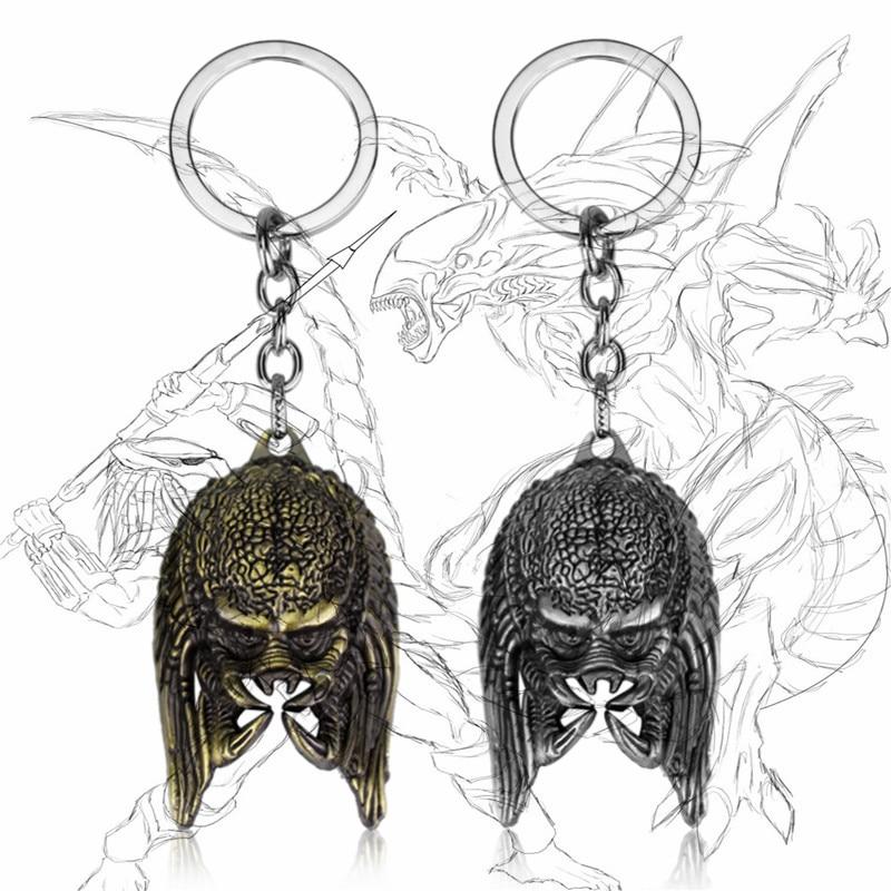 Hot Movie Fans Gift Film Alien Predator Metal Alien Mask Pendant Keyrings Key Holder Women Men Car Key Chain Keychains Chaveiro  men beaded bracelet red