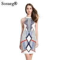 Sosaeg damska Nowa Odzież Europejska Amerykańska Geometryczny Wzór Druku Party Dress Kobiety Lato Dziewczyna Drukarek Spaghetti Pasek