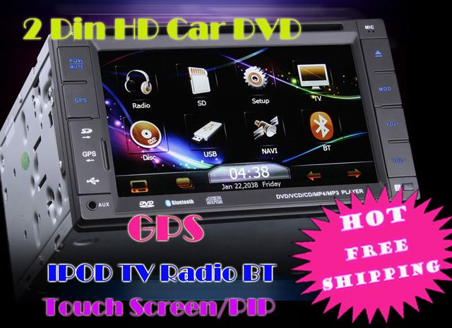 KS732 6.2inch 2 Din HD car dvd gps stereo radio IPOD TV BT All in One/PiP/SW-Control/Thema free shipping from UK stock