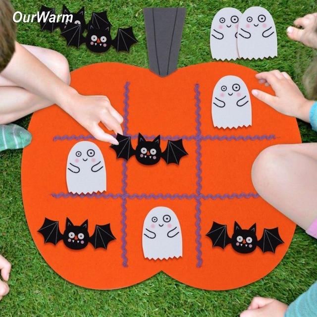 Ourwarm 1pc Felt Halloween Pumpkin Tic Tac Toe Game Protable 45x43cm Halloween Kid Educational Games Festive Party Supplies