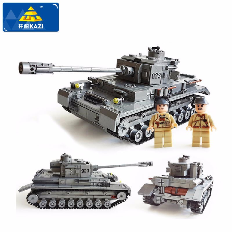 KAZI Large Panzer IV Tank 1193pcs Building Blocks Compatible Legoe City Military Army Constructor Educational Toys for Children