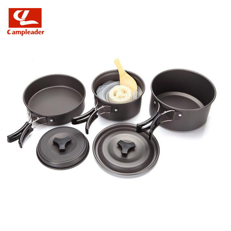 2 3 Person Non stick Picnic Pot And Pan Camping Pot Sets Outdoor Folding Cookware 9 in 1 sets for Outdoor Picnic CL090