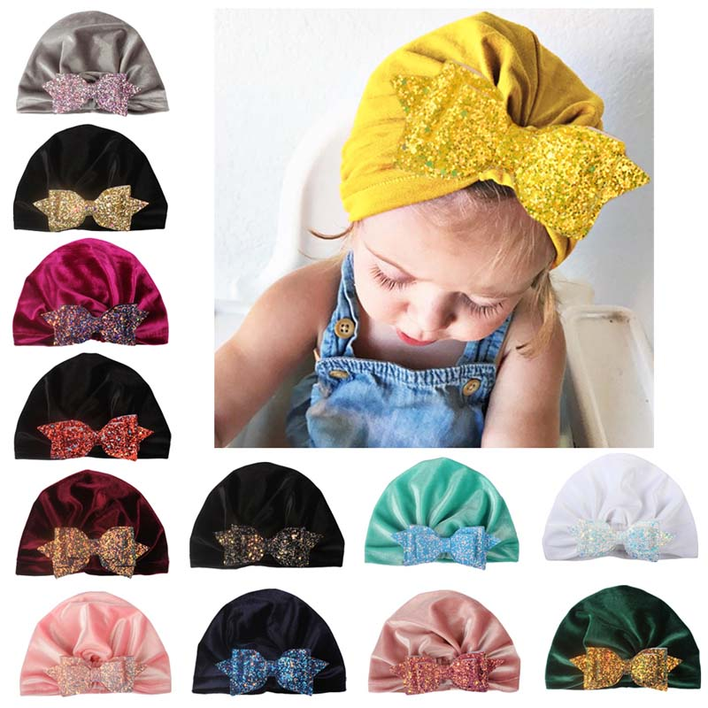 Kind-Hearted Baby Girl Sequins Design Bowknot Elastic Hats Turban Cap Cute Soft Infant Hair Accessories Indian Style H High Standard In Quality And Hygiene Mother & Kids Accessories