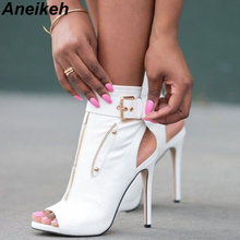 Aneikeh Classic PU Women Ankle Boots Buckle Strap Peep Toe Hollow Out Thin High Heels Shoes Woman Sexy Sandals Boots White Black
