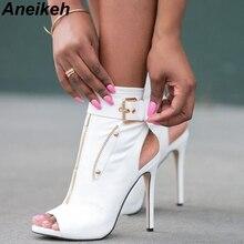 Aneikeh Klasik PU Kadın yarım çizmeler Toka Askı Peep Toe Hollow Out İnce Yüksek Topuklu Ayakkabılar Kadın Seksi Sandalet Botları Beyaz siyah