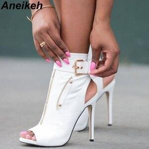 Image 1 - Aneikeh klasyczne PU kobiety botki pasek z klamrą Peep Toe drążą buty na cienkich wysokich obcasach buty kobieta seksowne sandały buty biały czarny
