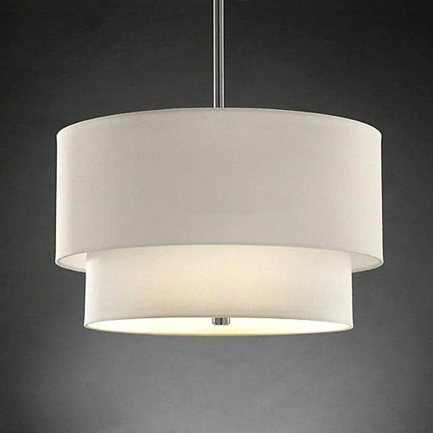 Moderne Lin Tissu Abat Jour LED Pendentif Lampe, Dia 40/50 CM ...