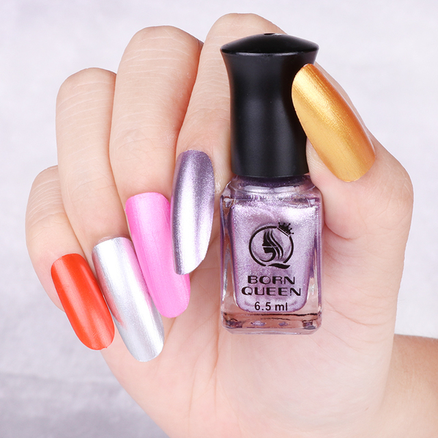 6.5ml BORN QUEEN Metallic Nail Lacquer Dull Metal Gold Silver Purple ...
