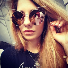 New Fashion Cat eye Metal Frame Women Sunglasses  Brand Design Retro Vintage Sun glasses Ladies Celebrity same paragraph Eyewear