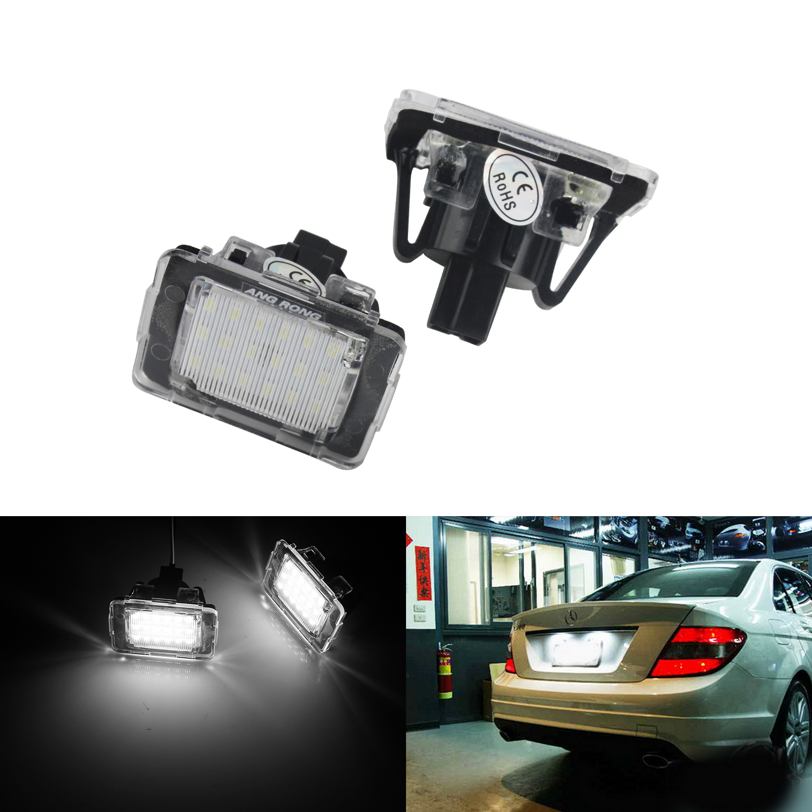 2x LED Licence Number Plate Light White Canbus For MB W176 GL X166 GLA X156 GLE W166 C292 SLK R172 Vito W447
